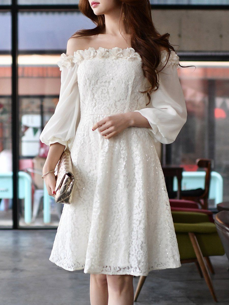White floral balloon sleeve aline off shoulder lace party dress