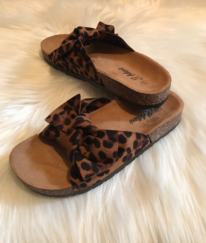 Leopard cheetah bow slides sandals