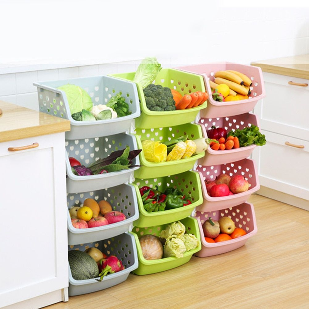 Durable Stackable Hollow Fruit Vegetable Basket Storage Box In 2020 Fruit And Vegetable Storage Storage Baskets Vegetable Storage