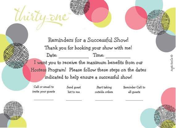 Hostess Reminder Card ThirtyOne – Thirty One Party Invites