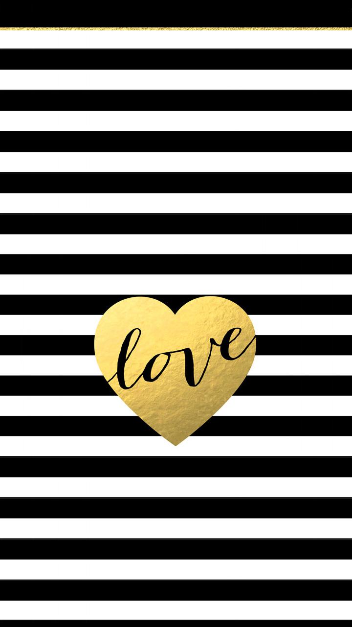 black white stripes gold heart love iphone phone background