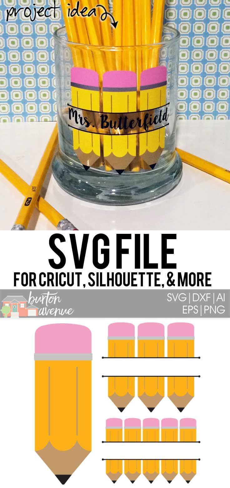 Split Pencils Cut File - SVG, EPS, AI, DXF, PNG | Cricut ...