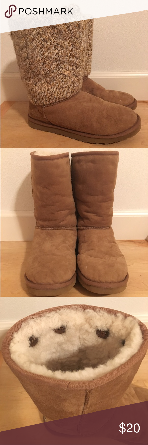 Chestnut colored ugg boots with removable cuffs