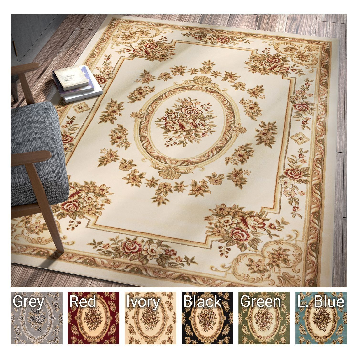 Room Pastoral Medallion Ivory French European Formal Traditional 8x11 8x10