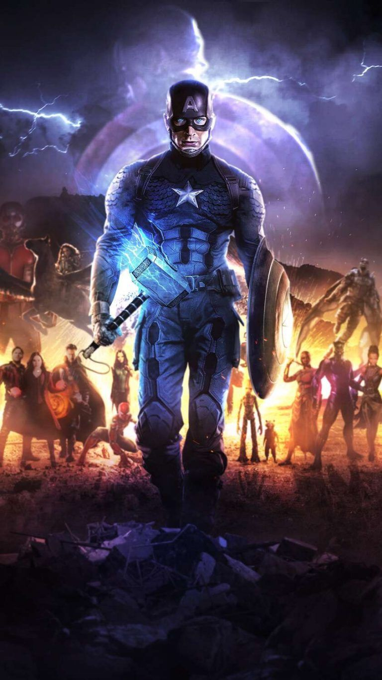 Captain America With Thor Hammer Mjolnir IPhone Wallpaper - IPhone Wallpapers