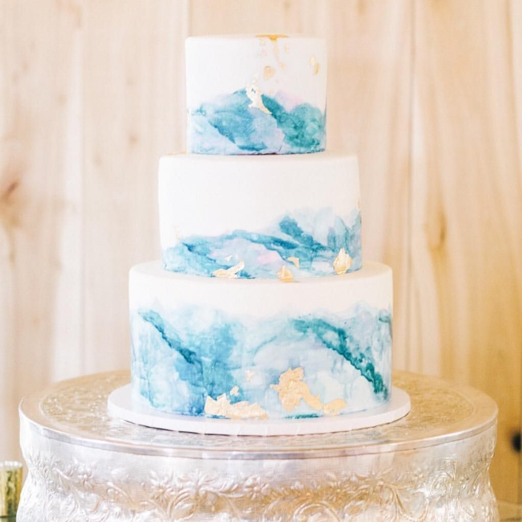 Blue Watercolor And Gold Foil Watercolor Wedding Cake Wedding