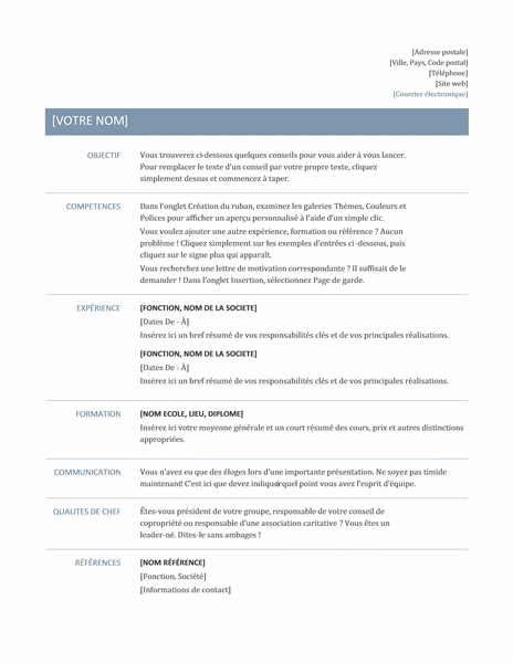 C V Intemporel Basic Resume Job Resume Template Resume Template Professional