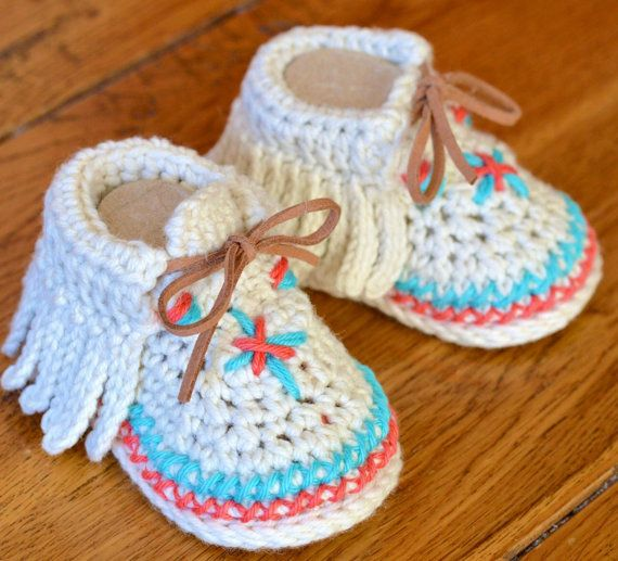Crochet Pattern Baby Moccasins Native American Style 3 Sizes Easy