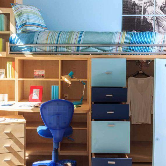 Alta Möbel habitaciones y dormitorios juveniles compactos con cama alta y