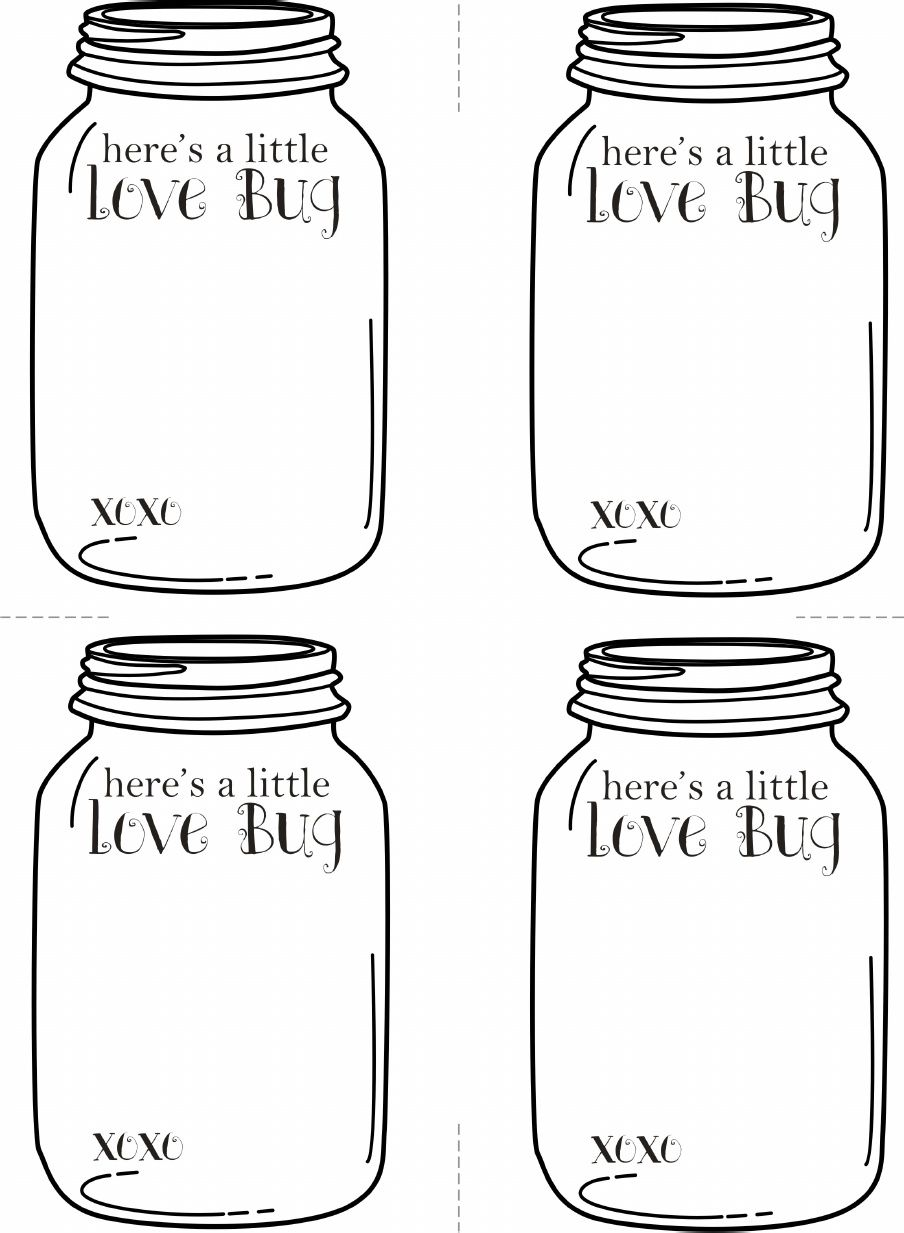 Valentine S Love Bug Cards Free Printable Empty Jar Ready To