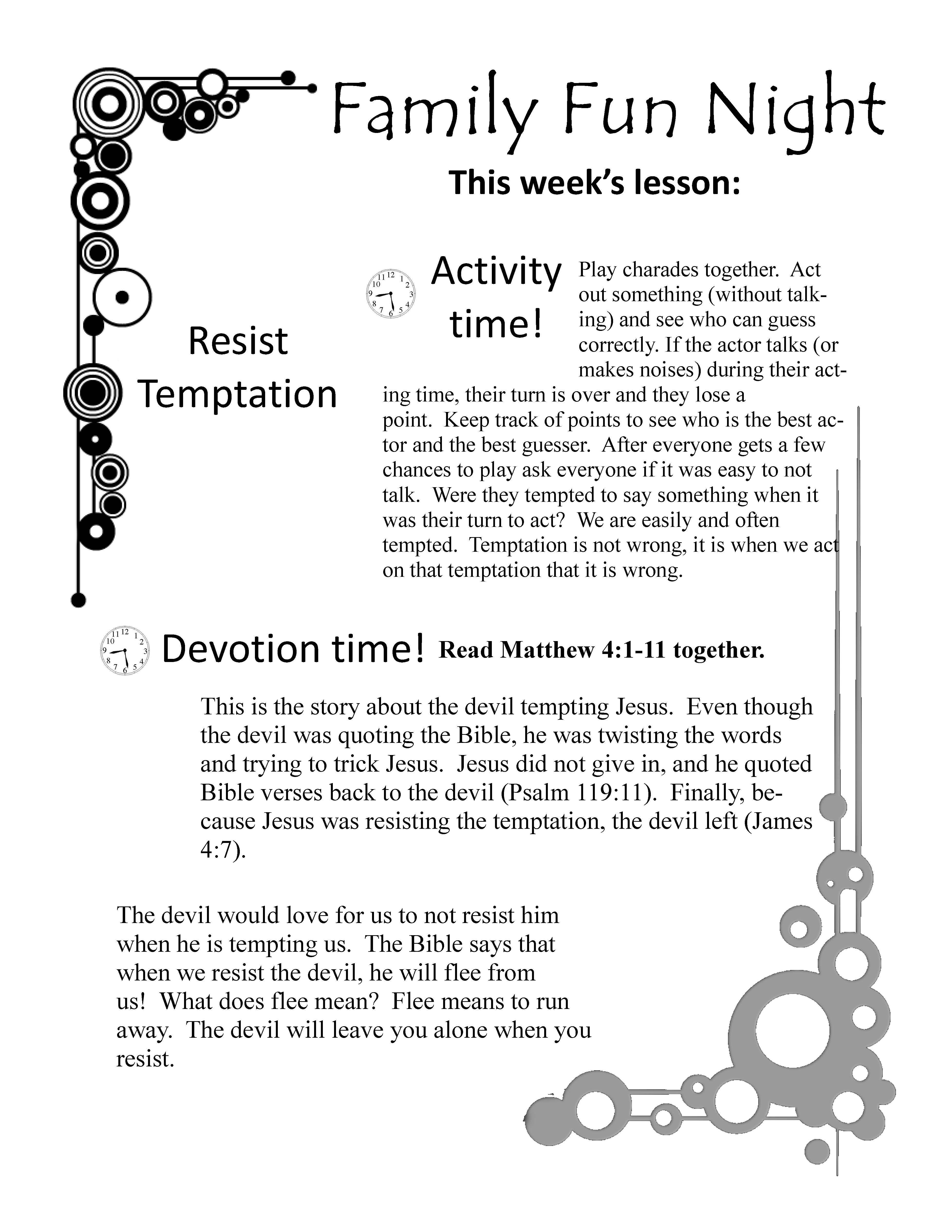fun family devotions topic temptation resist the devil a free
