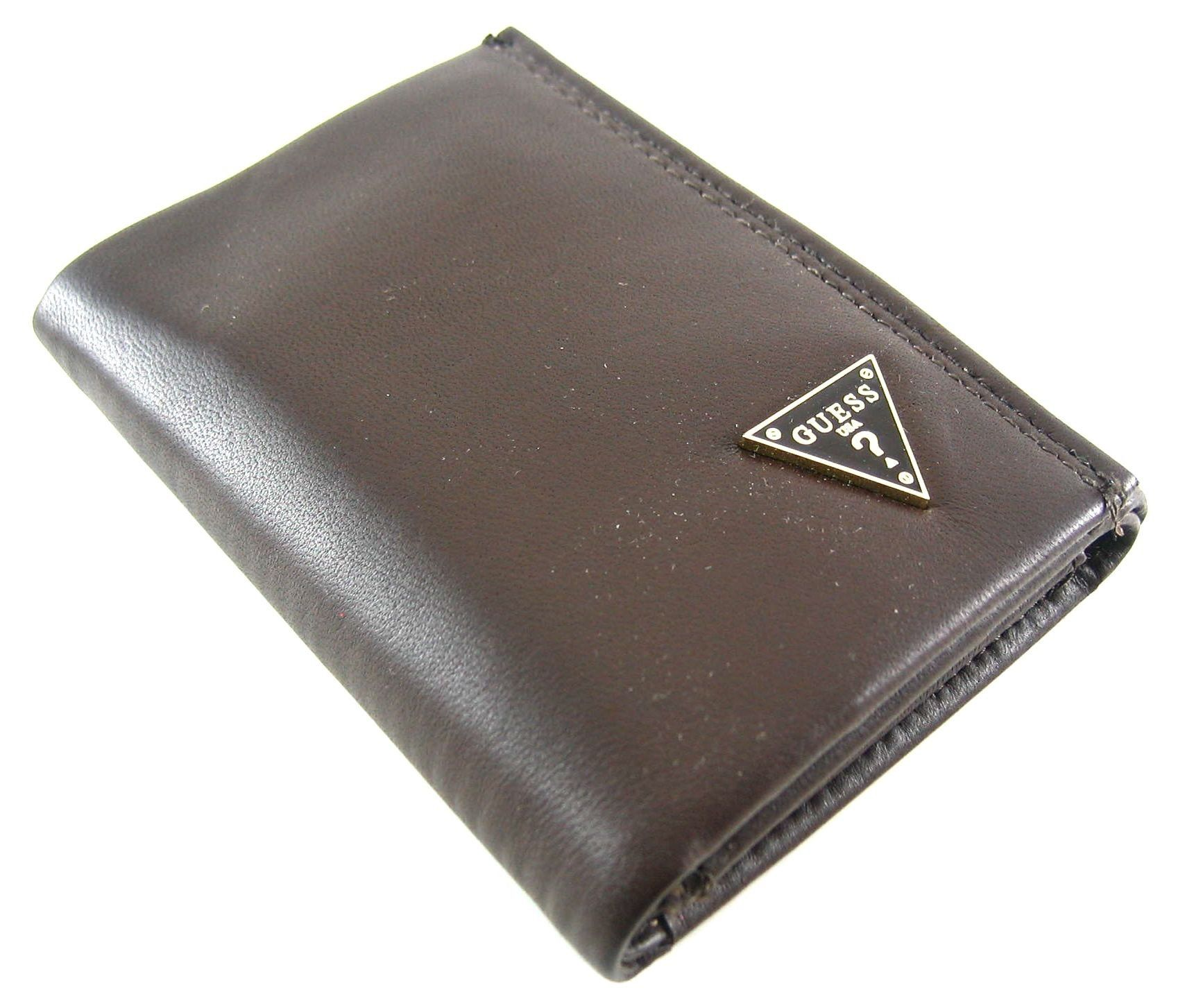 7aa844a611 Guess Cruz Brown Polished Lamb Leather Credit Card Trifold Wallet ...