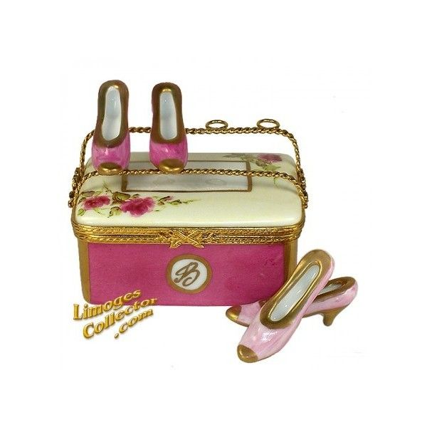 Floral Shoe Case with Two Pairs of Shoes Limoges Box by Beauchamp Limoges.  A fantastic selection of Fashion collectible Limoges boxes and gifts imported directly from Limoges, France.  LimogesCollector.com