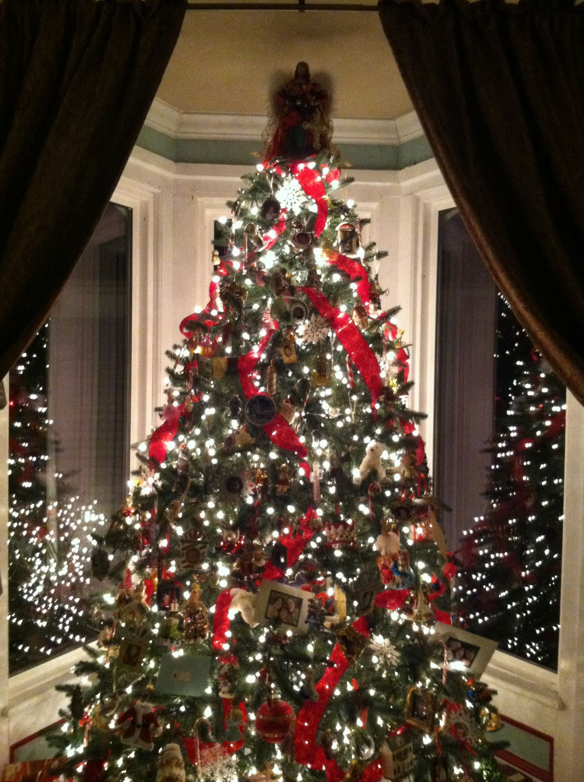 Christmas Tree W Velvet Ribbons Collected Ornaments And White