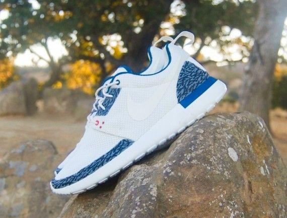 finest selection 0de79 98a7c nike roshe custom   Nike Roshe Run Air Jordan 3 True Blue White Cement  Customs