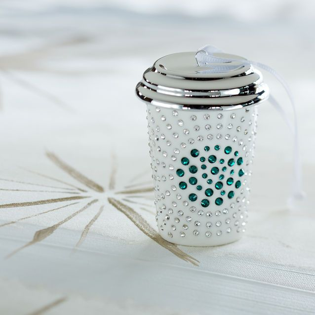 limited edition ceramic white cup ornament set with swarovski