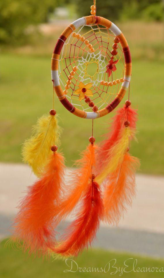 Red Orange Yellow Dreamcatcher with carnelian gemstone, plastic ...