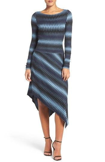Free shipping and returns on BCBGMAXAZRIA Asymmetrical Knit Dress at Nordstrom.com. Made from a soft and stretchy chevron knit for a comfortable fit, this versatile dress flatters with a dropped waist and angular asymmetrical hem.