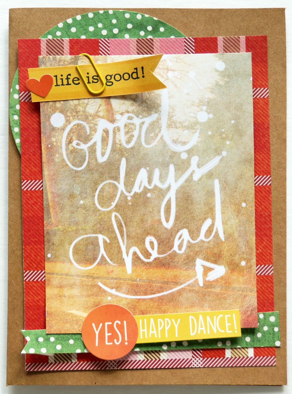 Good Days card, by Emily Pitts using the Lunch Break collection from www.cocoadaisy.com #cocoadaisy #scrapbooking #kitclub #cards #DITL #stickers #diecuts