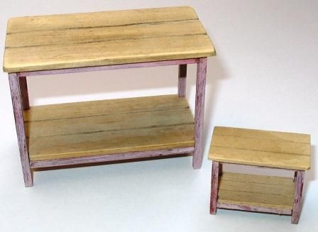 How to make a 1/12th and 1/24th scale side table with a distressed finish for your dolls house.