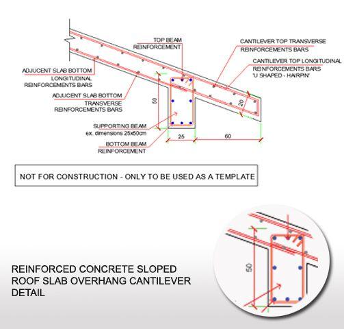Reinforced Concrete Sloped Roof Slab Overhang Detail Reinforced Concrete Concrete Design Roof Truss Design
