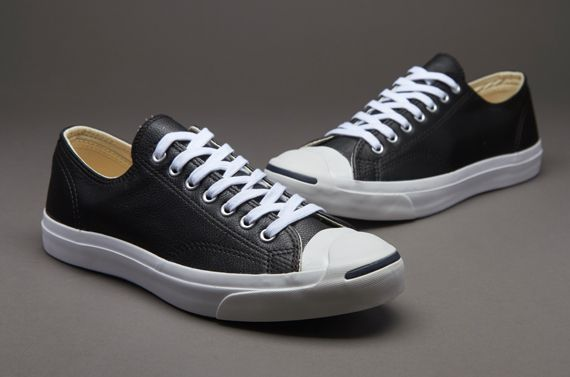 Converse Jack Purcell Leather Ox Trainers Black