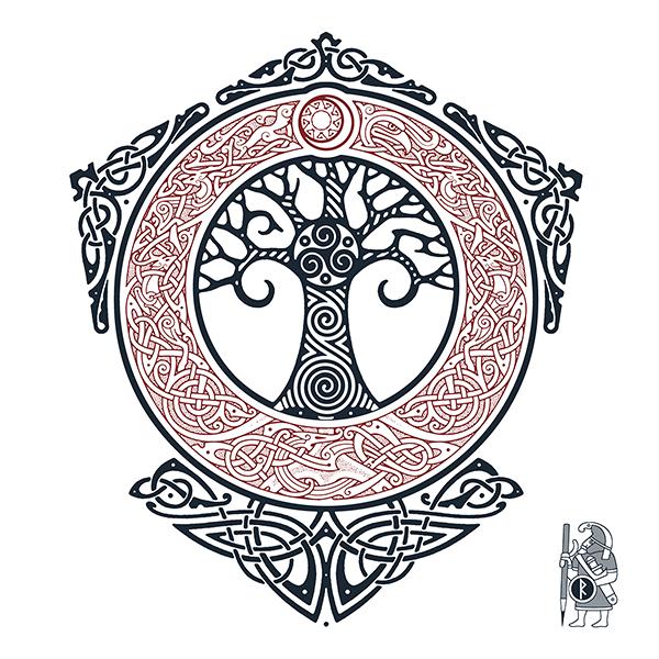 Yggdrasil Tree Of Life Knotwork Tattoo Design By Raidho Viking Simbolos Tatuagem Desenho Viking Runa Tatuagem