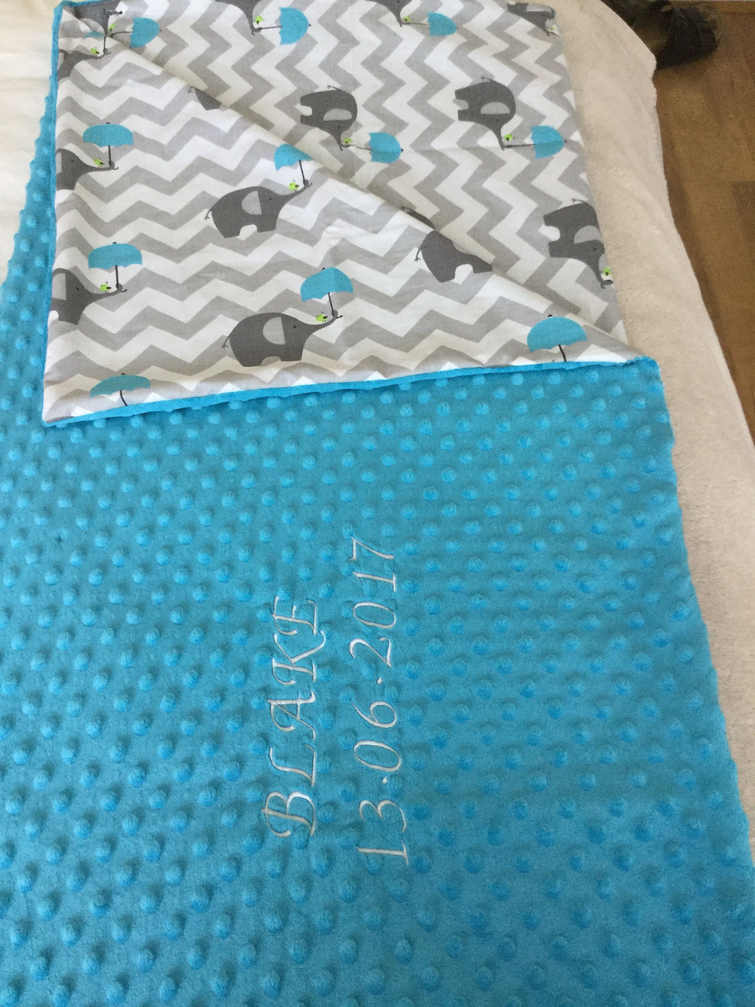 Beautiful blue Minky  baby embroidered blanket.