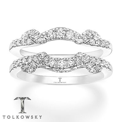 This Elegant Enhancer Ring From TolkowskyR Features Curves Of Shimmering Round Diamonds Above And Below A Space Designed To Insert Her Solitaire Engagement