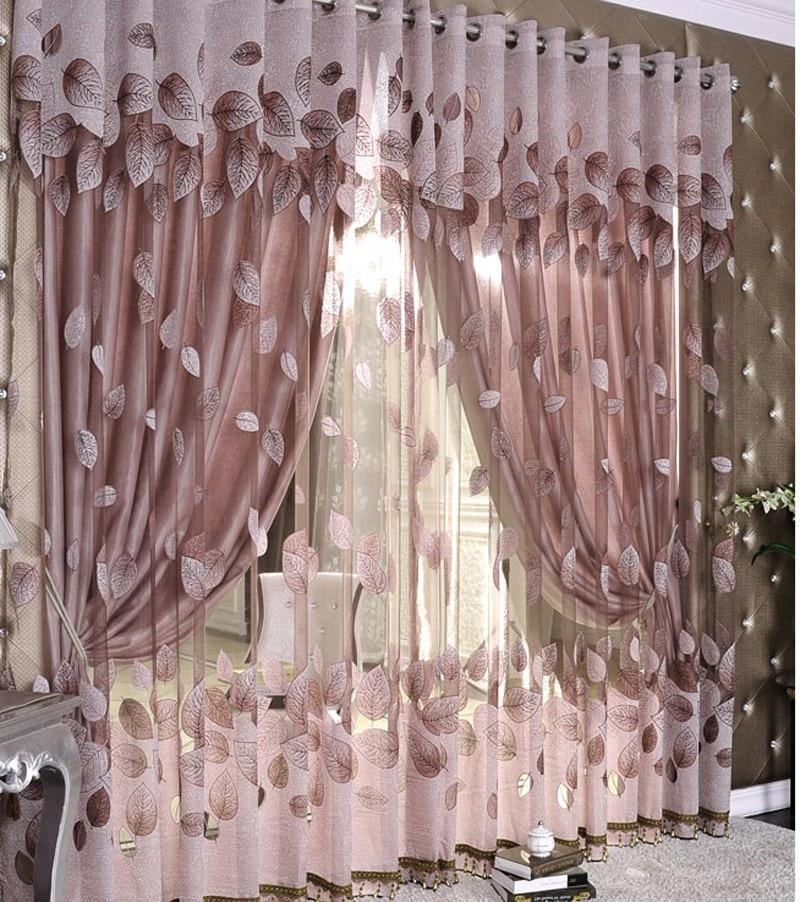 Luxury Modern Leaf Designer Window Tulle Curtain For Living Room