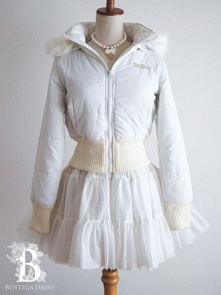 1d0495768 🌹LIZ LISA🌹White Jacket Fur Removable-Hoodie Ribbed Hime Lolita Japan-M  D892 #LIZ_LISA #Bottega_Dado