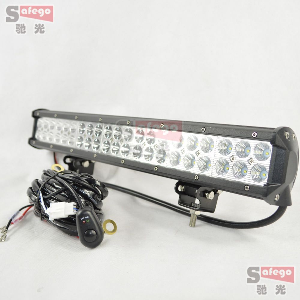 1pcs led offroad lights 126w led bar working led light +Wiring Kit for  Truck Trailer 4x4 4WD SUV ATV OffRoad Car Boat 12V 24V