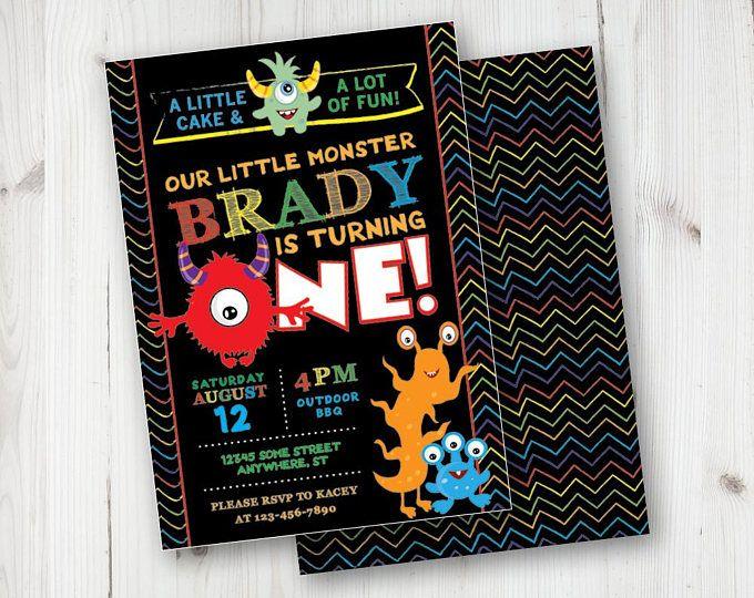 Little Monster 1st Birthday Invitations First DIY