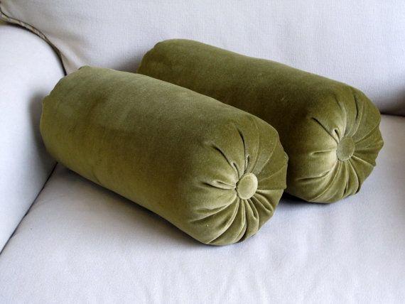 Velvet Olive Green Bolster Pillows 6x14 Pair By