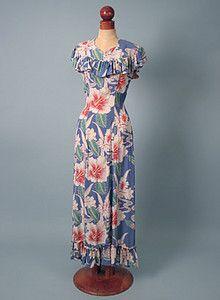 Rayon Print Hawaiian Dress, Mid 20th C.