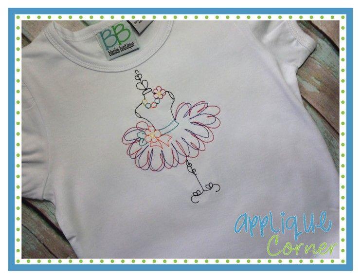 Applique Corner Applique Design Tutu Dress Stand Sketch Embroidery ...