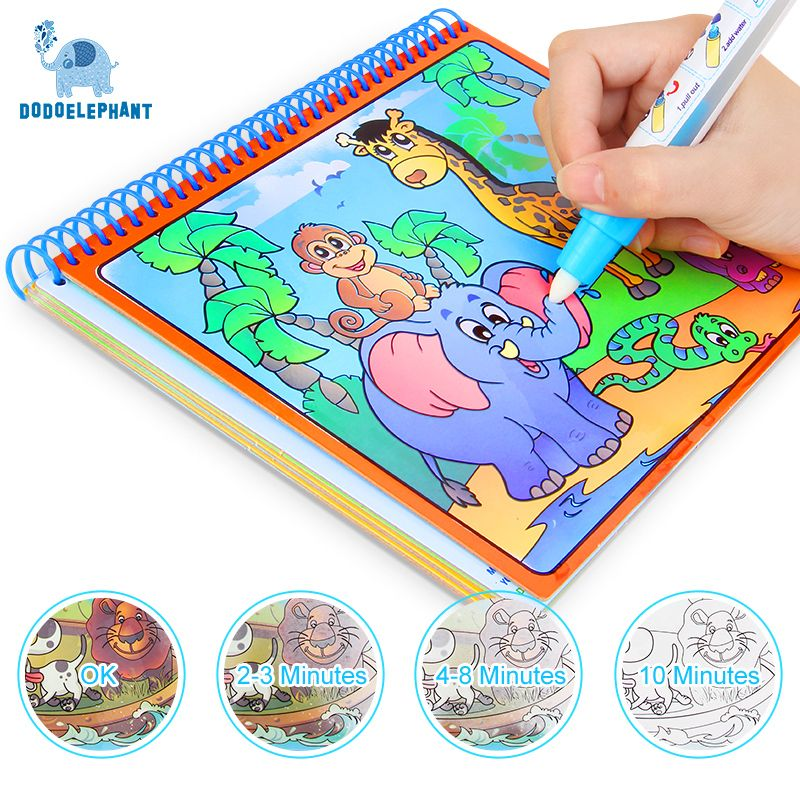 Cool Magic Water Drawing Book Coloring Book Doodle With Magic Pen Painting Drawing Board Coloring Book For Kids T Coloring Books Drawing Toys Water Drawing