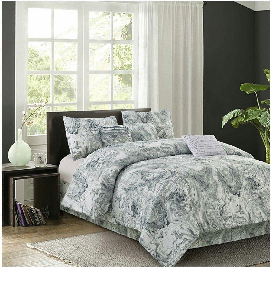piece marble design queen comforter set bedding grey bargain