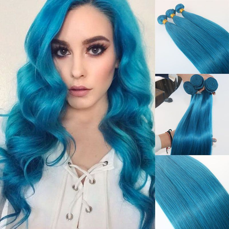 Blue Colorful Human Remy Hair Weave 1bundle Straight Extension Body