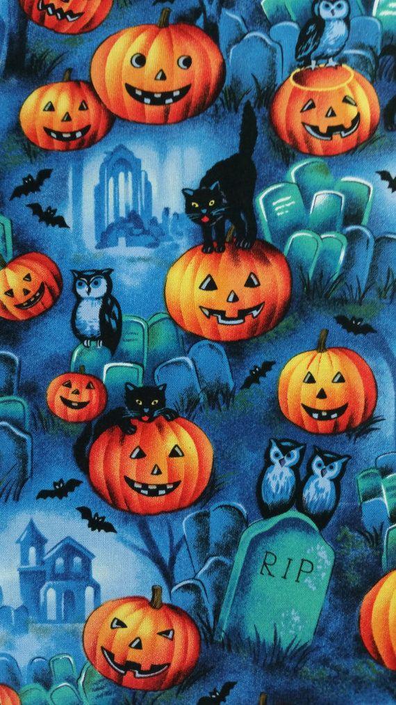 Graveyard Scene Halloween Black Bats Owls Cats By Mombiedesigns Halloween Prints Halloween Wallpaper Halloween Fabric