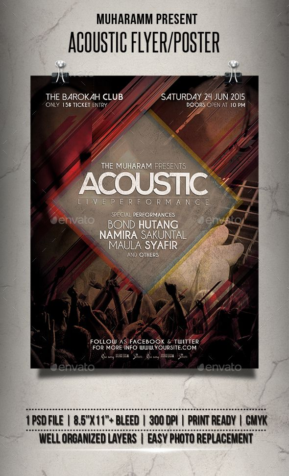 Acoustic Flyer   Poster Acoustic, Flyer template and Template - harmony flyer template