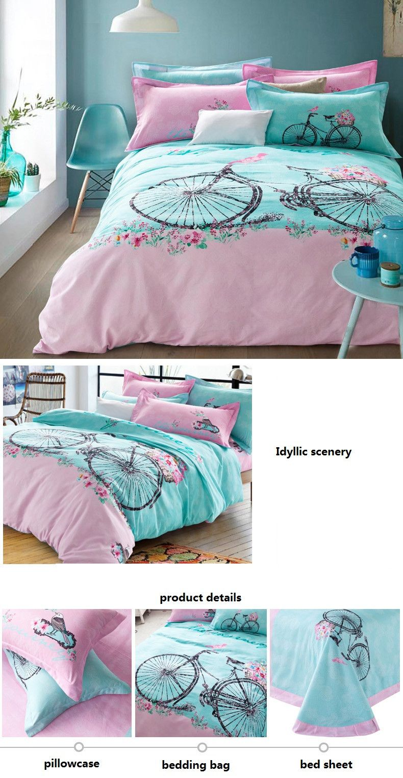 4piece Winter Hardy Thermal Sanding Bedding Set, Bicycle Pattern 100 Cotton Bed  Sheets, Environmental Breathable Brief Bed Linen In Bedding Sets