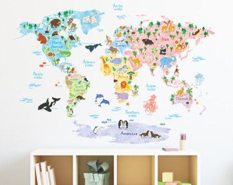 Bon LARGE World Map Wall Decal Sticker 7ft X 3.47ft Vinyl Wall