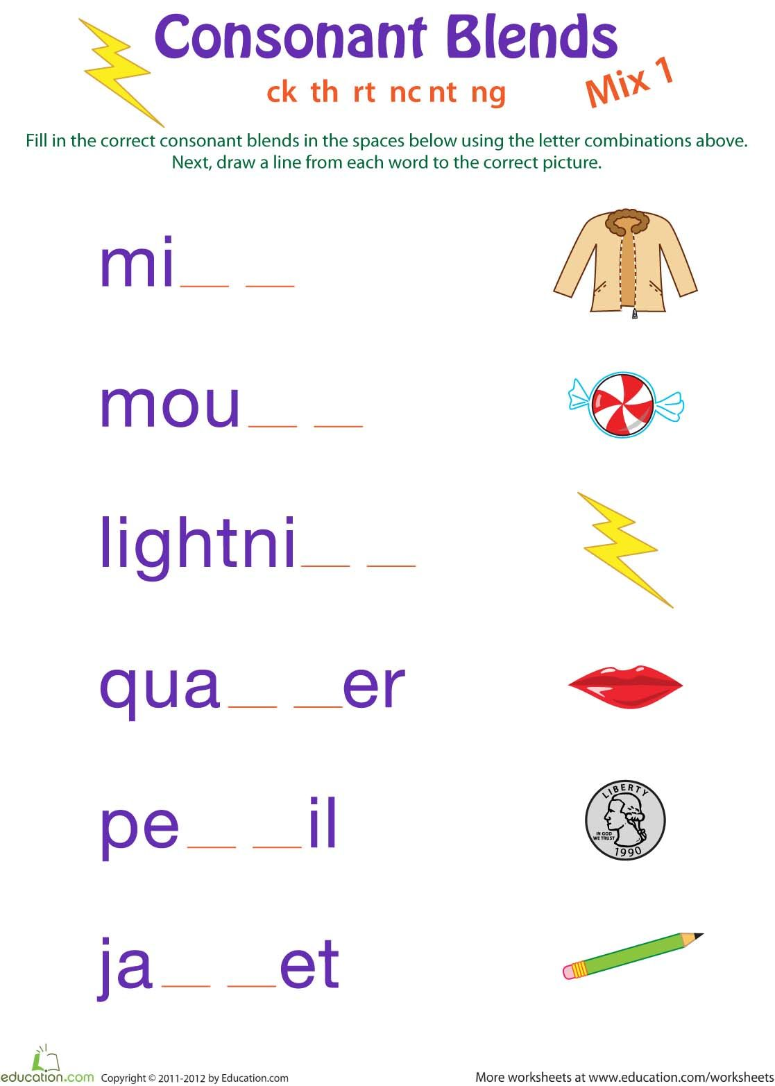 Consonant Blends Worksheets 1st Grade