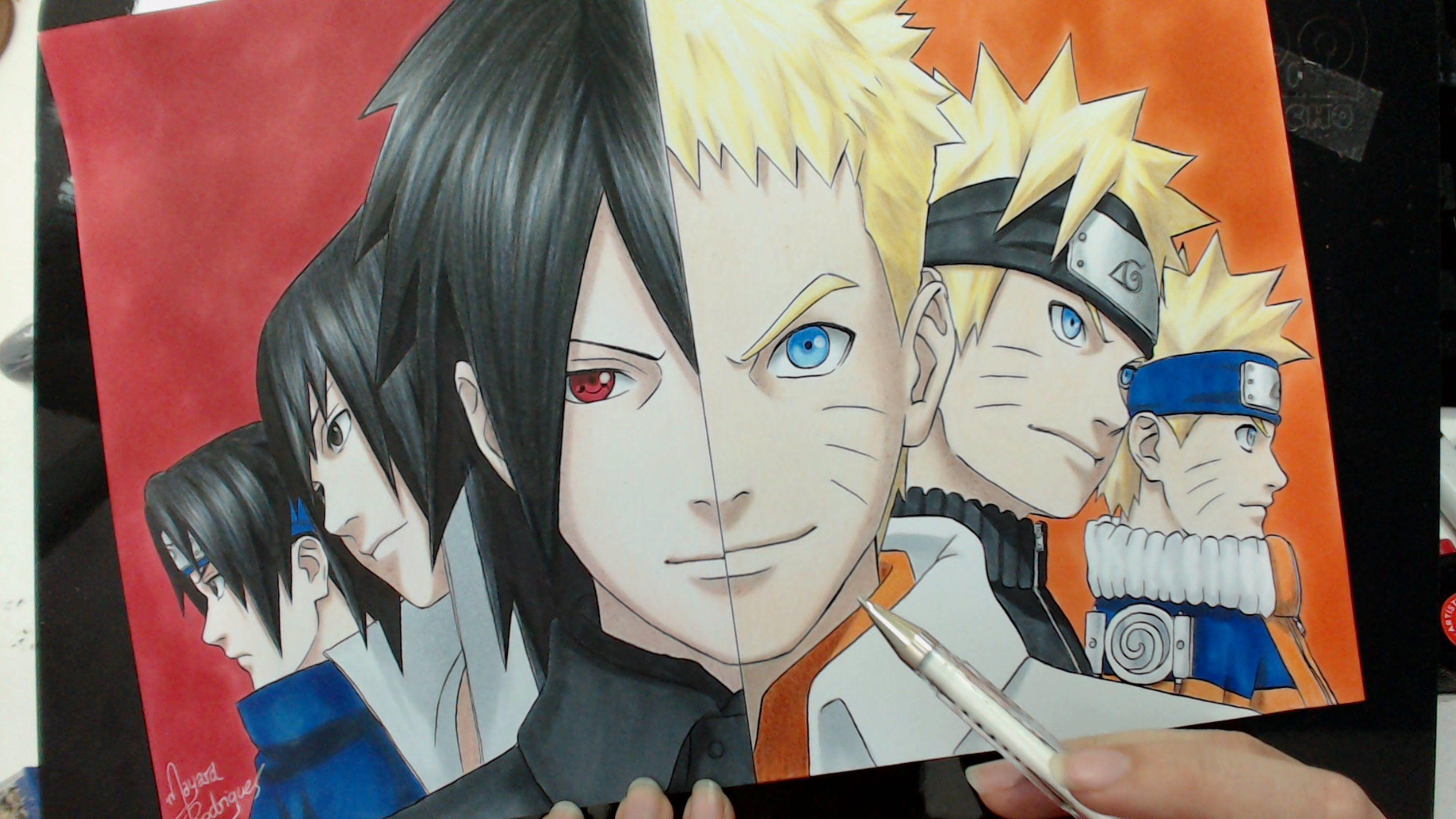 how to draw sasuke uchiha 3d