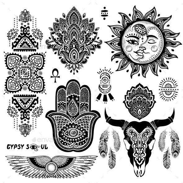 Bohemian Style Flash Tattoo Symbols