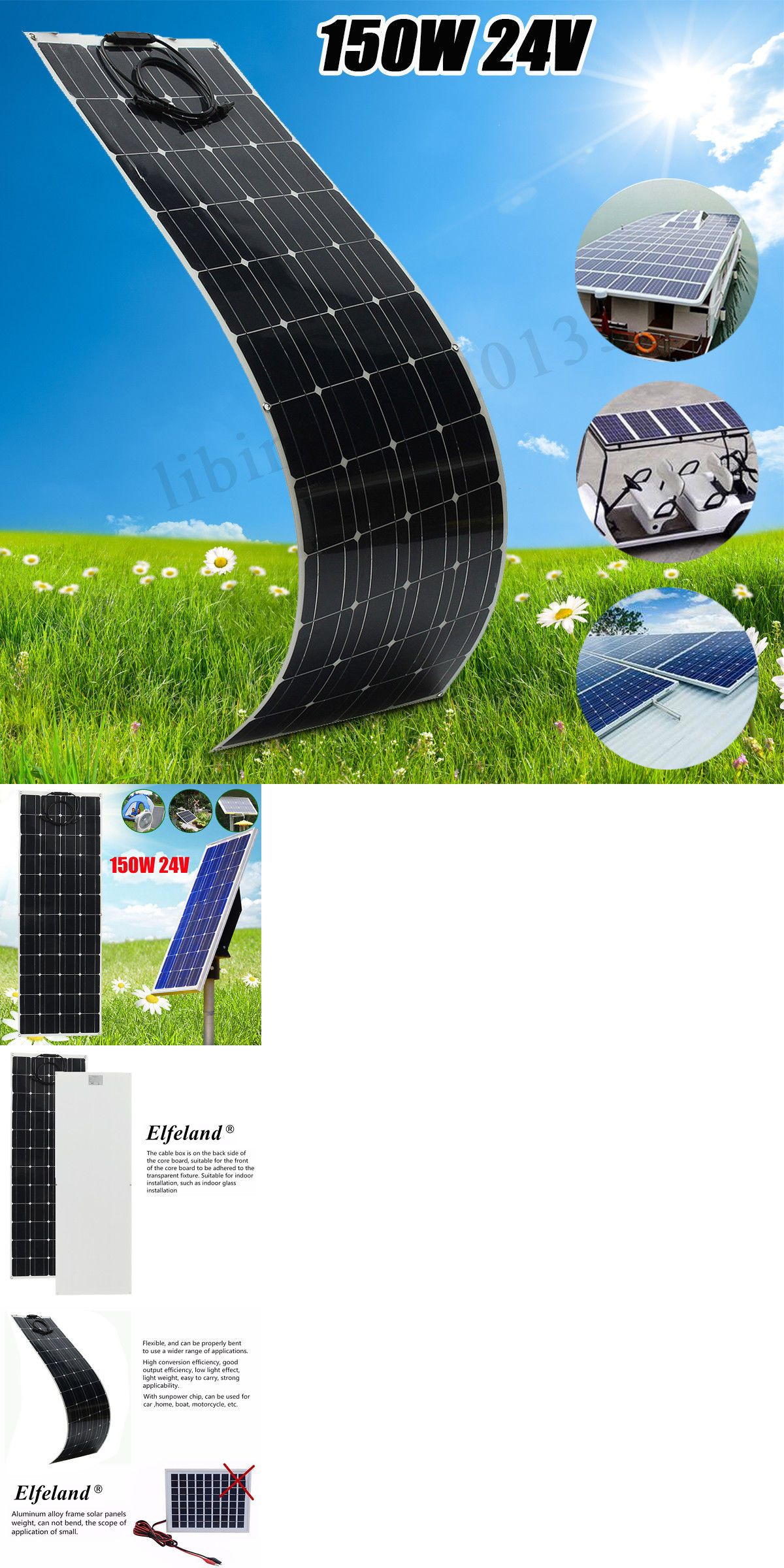 Chargers And Inverters 41980 150w 24v A Class Solar Panel Semi Flexible Off Grid Battery W Cable For Rv Boat Buy It Now Only Solar Off Grid Batteries 150w