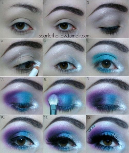 1. Have an eye… and then prime it :D!  2. Draw your eyebrow, i draw mine on using eyeshadow/liner and my angle brush  3. Apply a white eyeshadow below your brow, this will highlight it :)  4. Apply a white eyeliner & white shadow to the innercorner of your eye, i also added white glitter :)  5. Add a little bit of silver eyeshadow after the white  6. Then add blue! :D  7. Then add purple! don't forget to bring the eyeshadows underneath the bottom lid :)  8. Blend it all together using