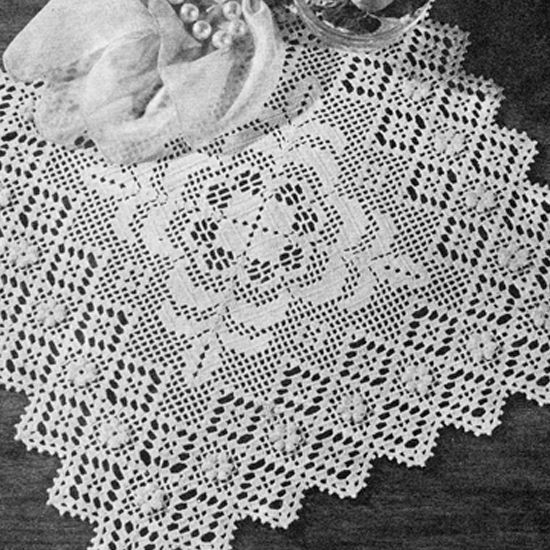 Filet Crochet Square Rose Doily Pattern Crochet Doilies