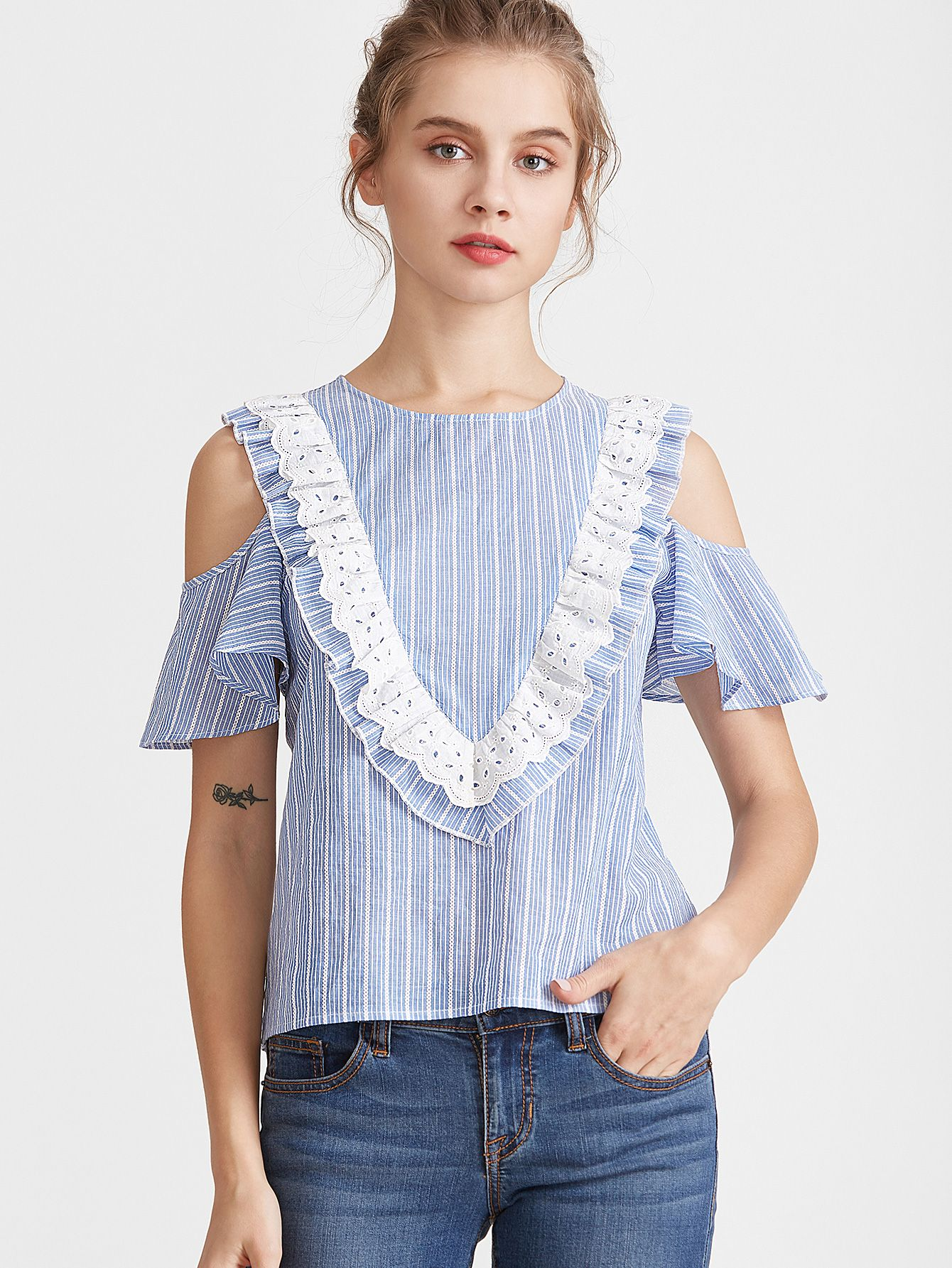 79f74e90713c6 Shop Blue Striped Eyelet Embroidered Ruffle Trim Cold Shoulder Top online.  SheIn offers Blue Striped Eyelet Embroidered Ruffle Trim Cold Shoulder Top    more ...